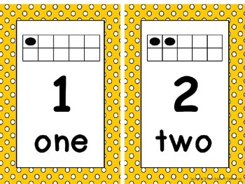 Ten Frame Number Card Posters 0-20 Yellow and White Polka Dots