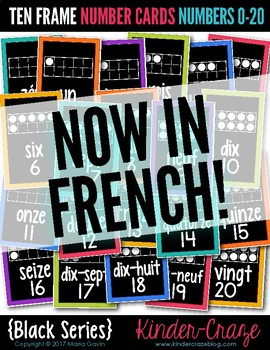 Ten Frame Number Cards 0-20 Black Series {French Version}