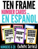Ten Frame Number Cards 0-20 EN ESPAÑOL {White Series}