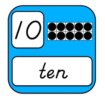 Ten Frame Number Cards 0-20 for Wall Displays in Brights