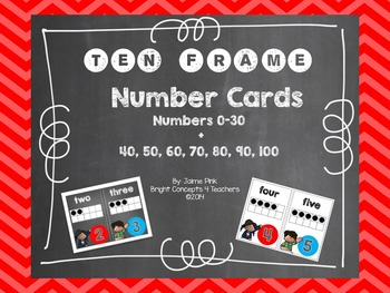 Ten Frame Number Cards 0-30 {Chalkboard & White Backgrounds}