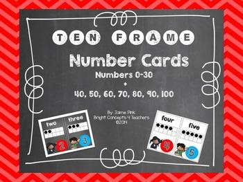 Ten Frame Number Cards 0-30 {Chalkboard & White Backgrounds}