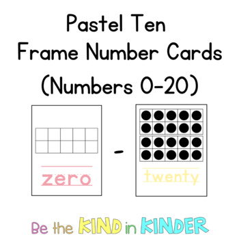 Ten Frame Number Cards (Numbers 0-10)   {Pastel}