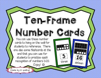 Ten-Frame Number Cards (Rainbow Edition)