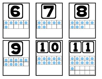 Ten Frame Number Flash Cards