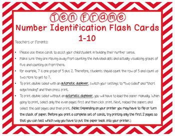 Ten Frame Number Identification Flash Cards 1-10