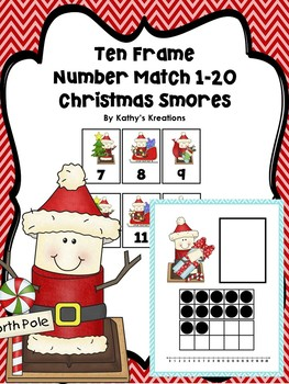 Ten Frame Number Match 1-20 Christmas Smores