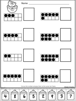 Ten Frame Number Match 1-20 Little Bakers