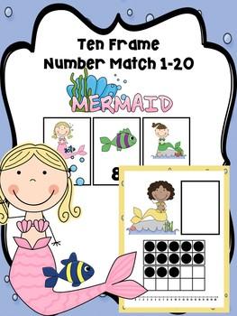 Ten Frame Number Match 1-20 Mermaid
