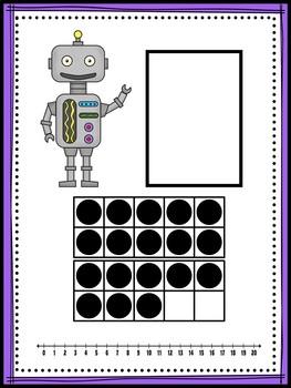 Ten Frame Number Match 1-20 Robots