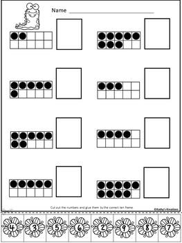 Ten Frame Number Match 1-20  Spring Monsters
