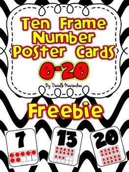 Ten Frame Number Poster Cards 0-20 {FREEBIE}