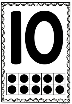 Ten Frame Number Posters (0-20) Rainbow & B/W