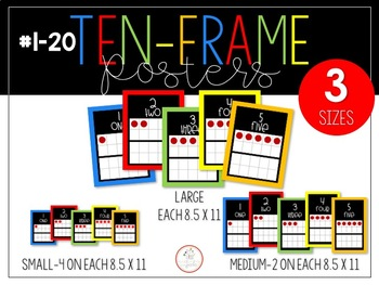 Ten Frame Number Posters (0-20) in 3 Sizes - Black and Primary Brights