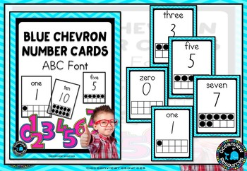 Ten Frame Number Posters -ABC Font Blue Chevron