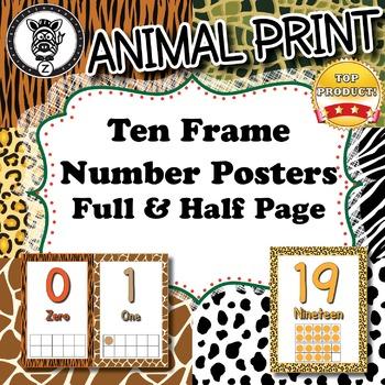 Ten Frame Number Posters  - Animal Print - ZisforZebra