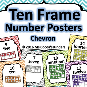 Ten Frame Number Posters - Chevron