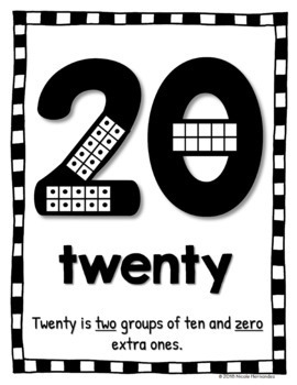 Number Posters 0 - 20 with Ten Frames - CLASSIC BLACK AND WHITE Theme