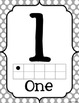 Ten Frame Number Posters {Gray Polka Dot}