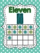 Ten Frame Number Posters- Green and Aqua