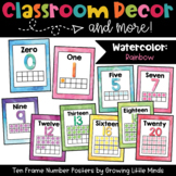 Ten Frame Number Posters- Rainbow Watercolor classroom decor