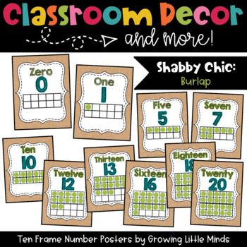 Ten Frame Number Posters- Shabby Chic Rustic Burlap