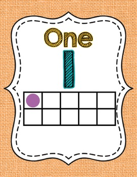 Ten Frame Number Posters- Shabby Chic Rustic Rainbow Burlap