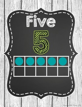 Ten Frame Number Posters- Shabby Chic Rustic Shiplap Wood Chalkboard