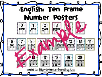 Ten Frame Number Posters English and Spanish