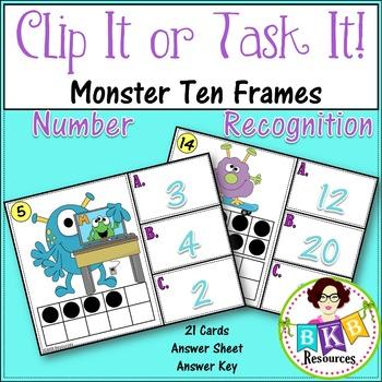 Ten Frame Number Recognition Clip Cards or Task Cards