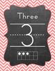 Ten Frame - Number Sets (1-20) - Chevron - Teal & Coral Colors