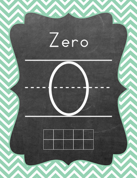 Ten Frame - Number Sets (1-20) - Chevron - Teal & Coral Colors