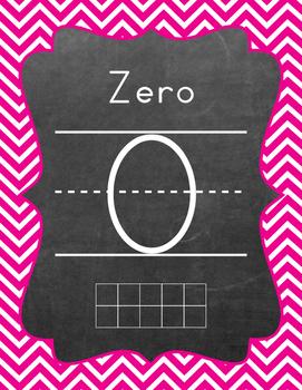 Ten Frame - Number Sets (1-20) - Chevron - Hot Pink