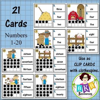 Ten Frame Number Word Recognition Clip Cards or Task Cards