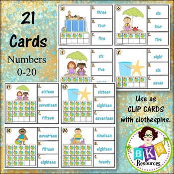 Ten Frame Number Word Recognition Clip Cards or Task Cards