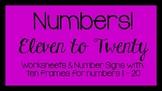 Ten Frame Numbers Worksheets 11-20