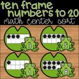 Spring Math Center Kindergarten Ten Frame Counting to 20 Sorting Activity
