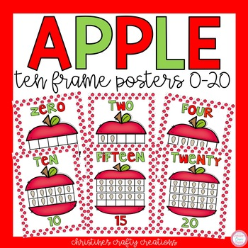 Ten Frame Posters (0-20) Apple Theme