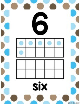 Ten Frame Posters (0-20) - Blue & Brown Polka Dot
