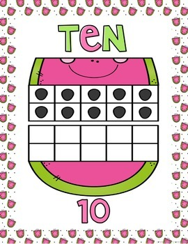 Ten Frame Posters (0-20) Watermelon Theme