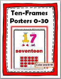 Ten Frames Number Posters - - Numbers 1-30