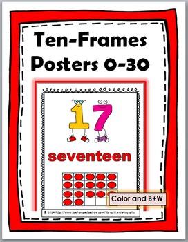 Ten Frames Number Posters - - Numbers 0-30