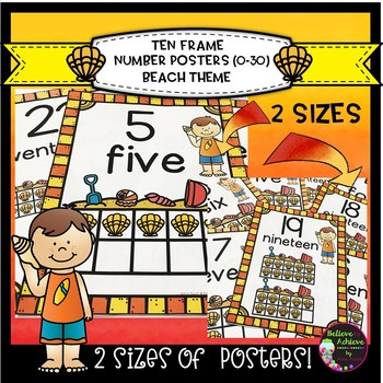 Ten Frame Posters (0-30)  in 2 Sizes with Beach Theme