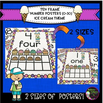 Ten Frame Posters (0-30)  in 2 Sizes with Ice Cream Theme
