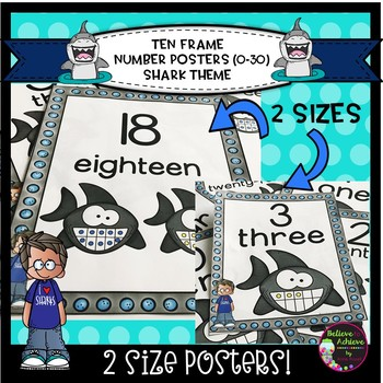 Ten Frame Posters (0-30)  in 2 Sizes with Shark Theme
