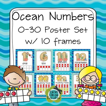 Ten Frame Posters (0-30) in 3 sizes (CCSS)  - Ocean Colors