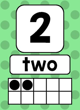 Ten Frame Posters 1-20 Polka Dots