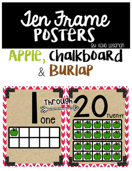 Ten Frame Posters - Apple, Chalkboard and Burlap