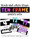 Ten Frame Posters | Bright Colors + Black and White Stripes