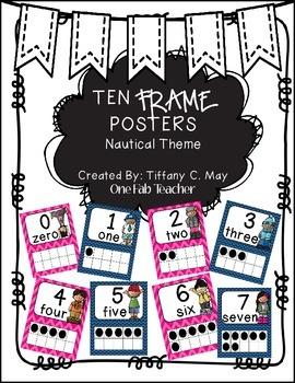 Ten Frame Posters Melonheadz Style (Nautical)